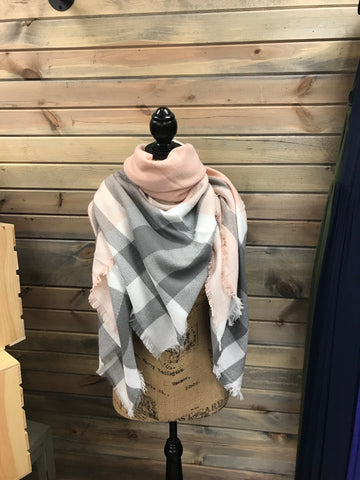 Light Pink, White and Gray Plaid
