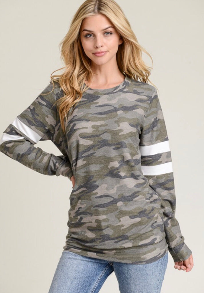 Camo Top With Contrasting Stripes