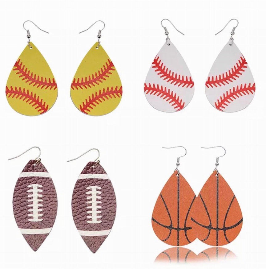 Leather Sports Dangle Earrings