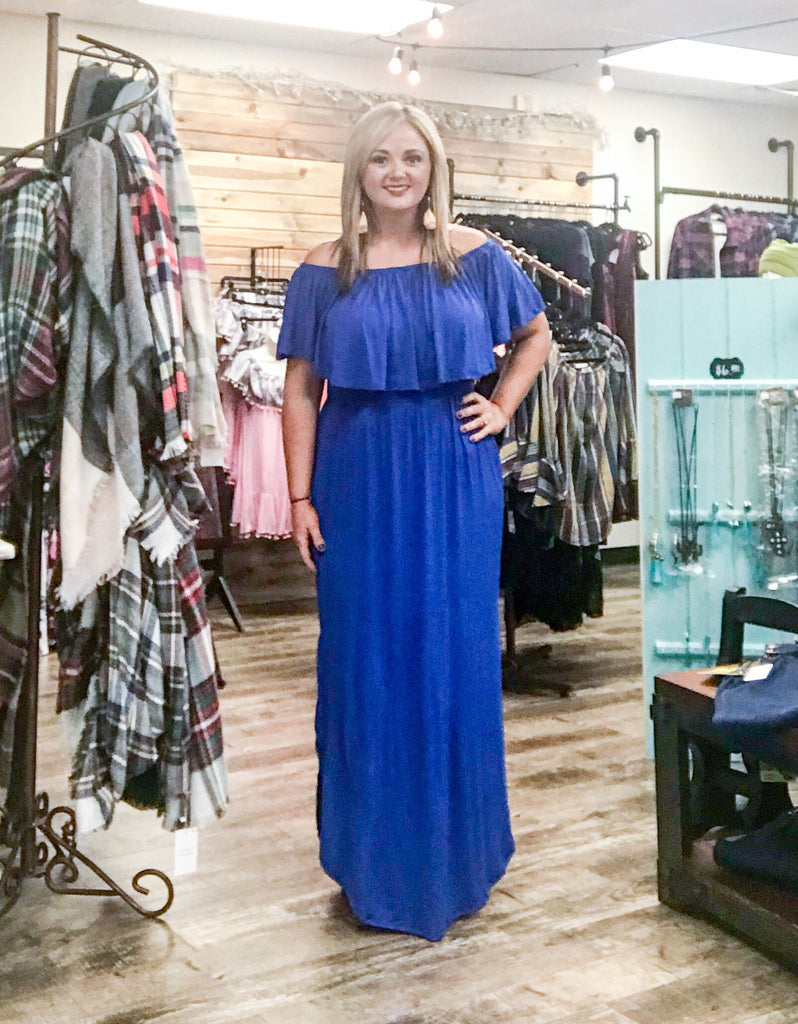 Off Shoulder MAXI-Cobalt