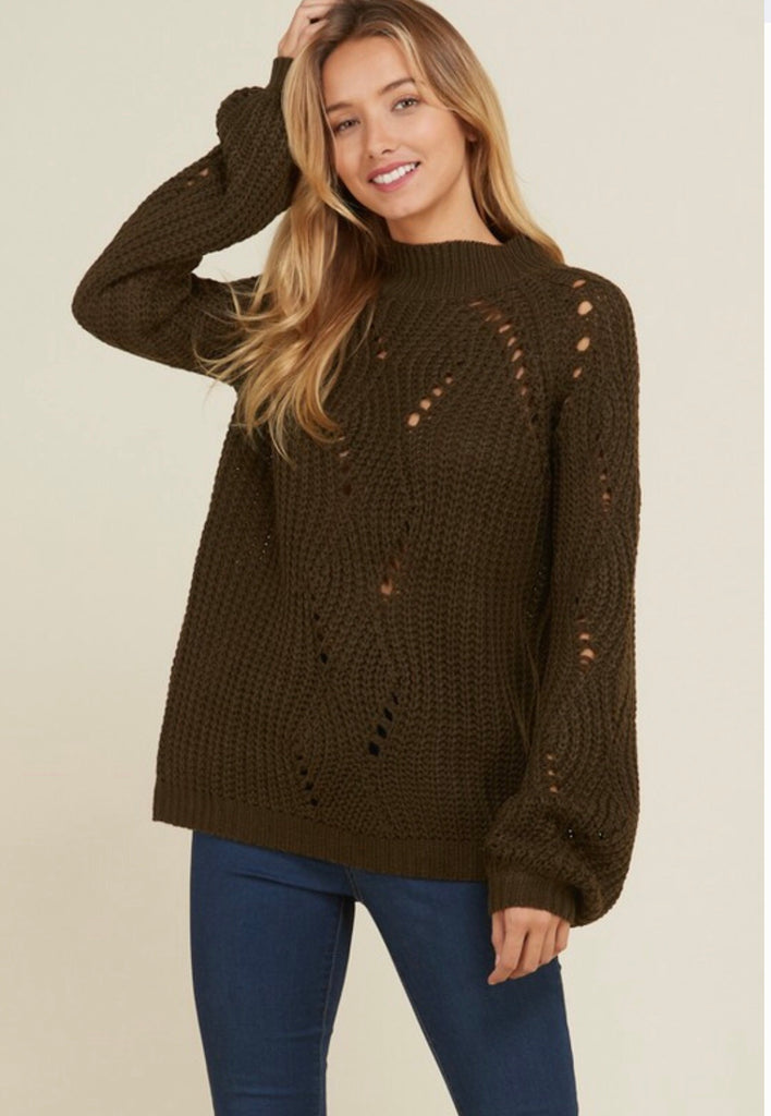 Solid Crochet Knit Pull Over Sweater