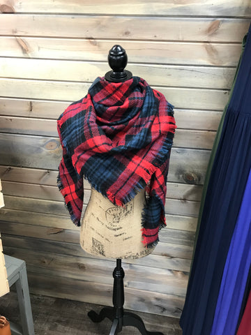 Red, Black and Navy Plaid