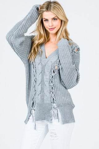 Braided Knit Pullover