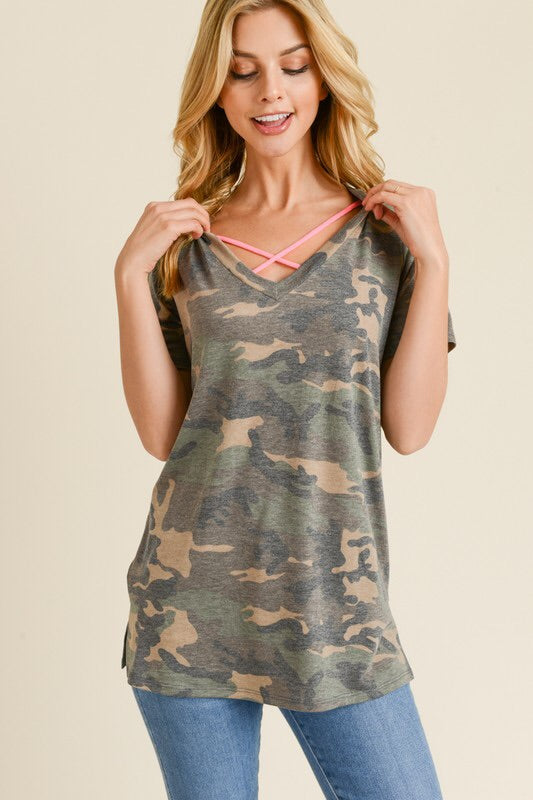 Camo Print Criss Cross Top