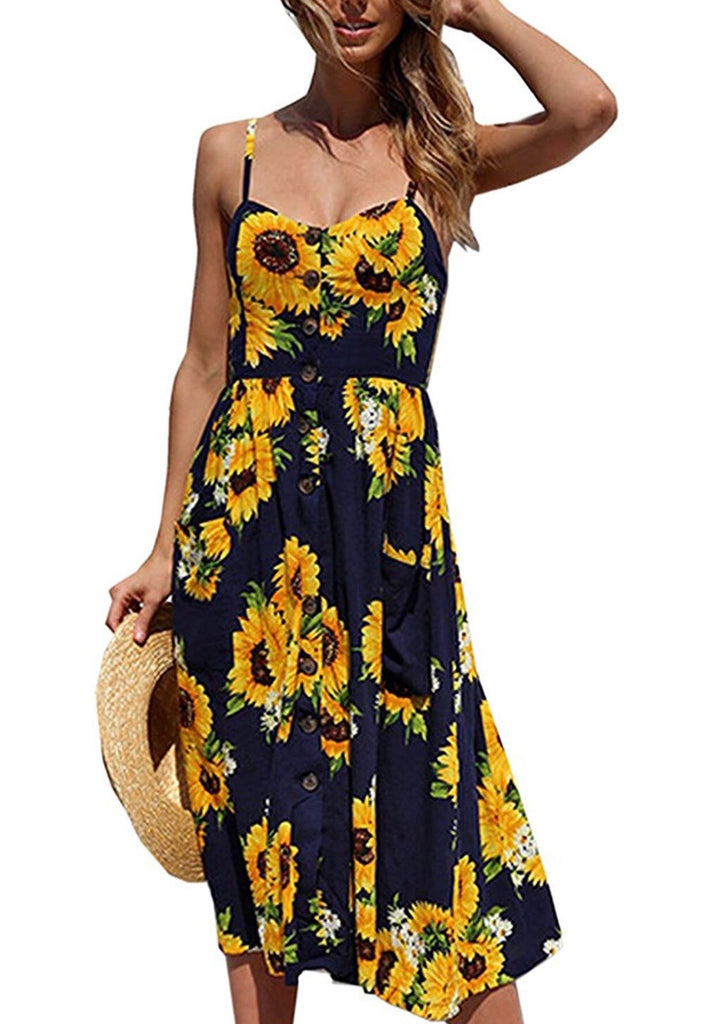 Sunflower Midi Dress; Navy/Yellow