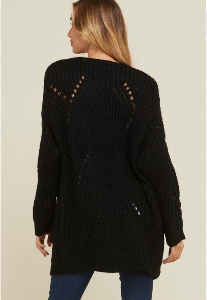 Crochet Open Front Cardigan-Black