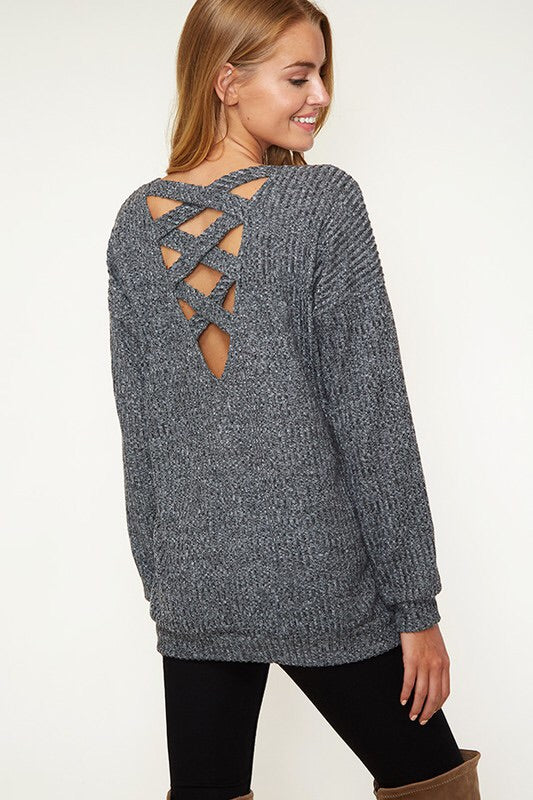 Back Cutout Sweater Top