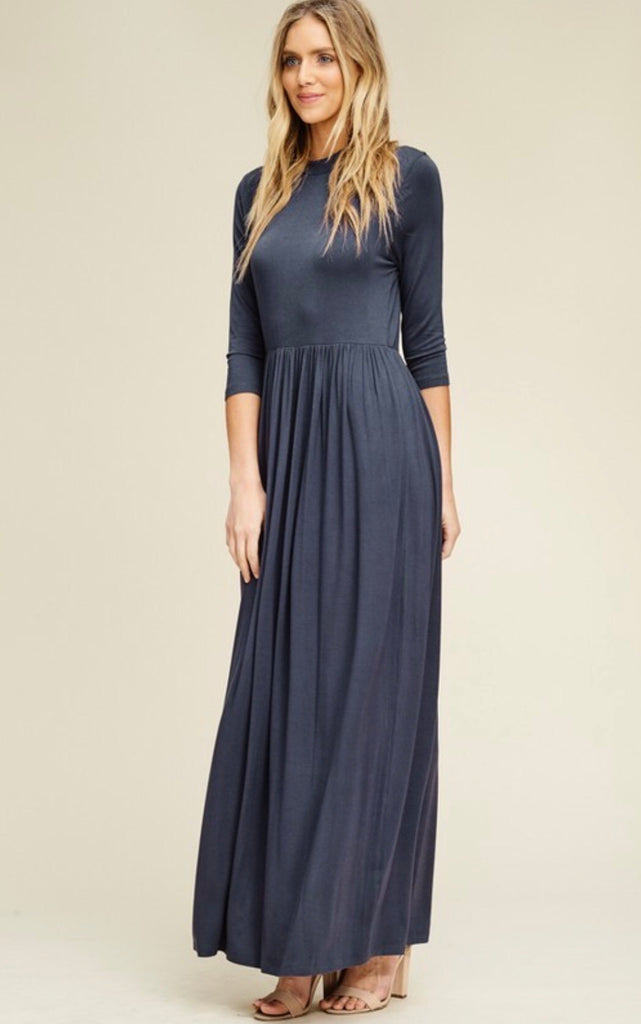 Solid Round Neck Maxi-Navy