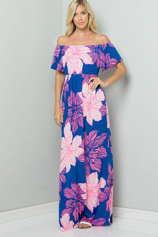 Neon Floral Off Shoulder Maxi; Royal