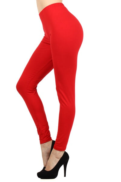 The BEST Leggings-RED ONE SIZE