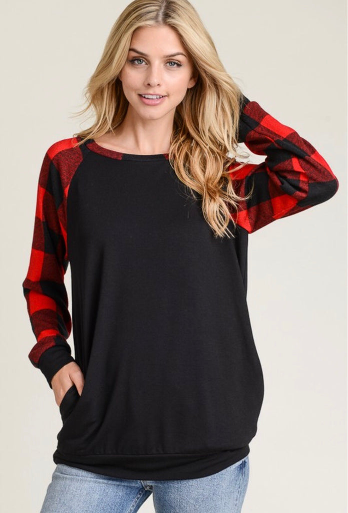 Plaid Raglan Sleeved Top