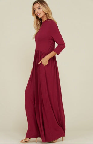 Solid Round Neck Maxi-Berry