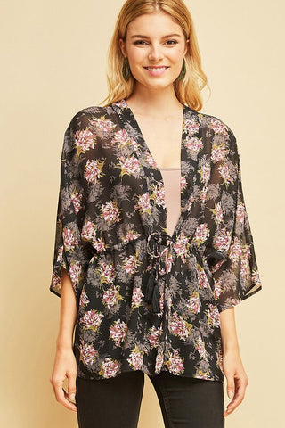 Remember Me Sheer Kimono; Black Floral