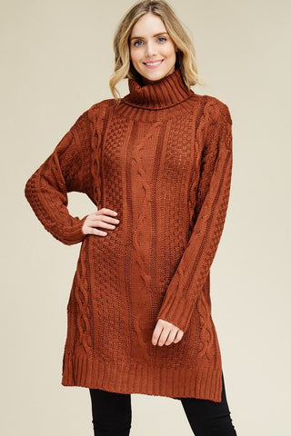 Knitted Turtleneck Tunic Dress