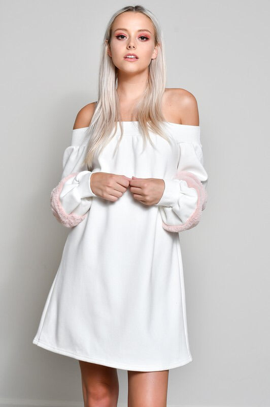 Ice Princess Off Shoulder Dress-SALE