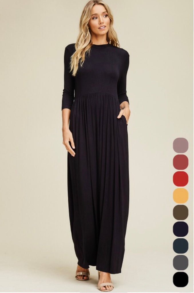 Solid Round Neck Maxi-Black