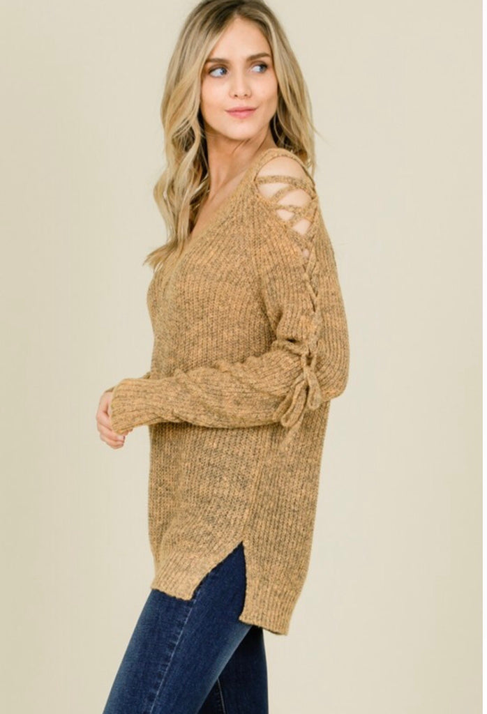 Soft Knitted Cross Shoulder Sweater