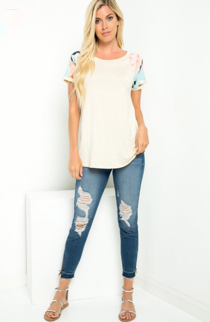 Floral Sleeve Tee; Off White