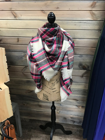 Cream, Hot Pink and Brown Plaid