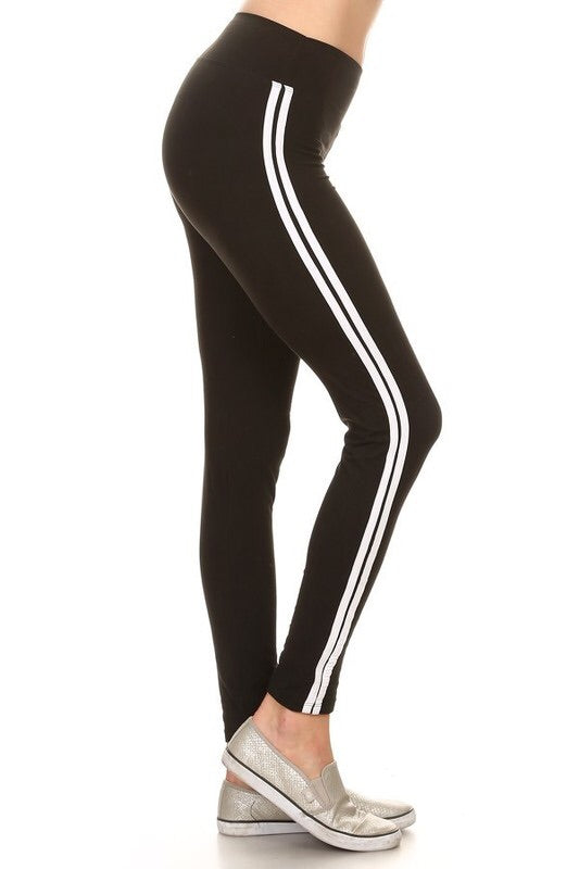 The BEST Leggings-Black w/Stripe ONE SIZE