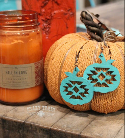 CRAZY TRAIN Turquoise Pumpkin Spice Earrings
