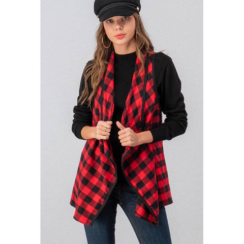 Open Front Buffalo Plaid Vest