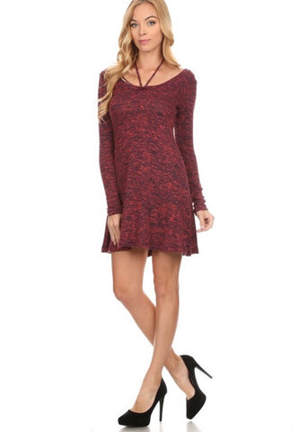 Long Sleeved Mid-Dress With Neck Tie String