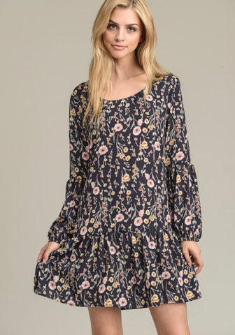 Long Sleeved Floral Print Midi Dress
