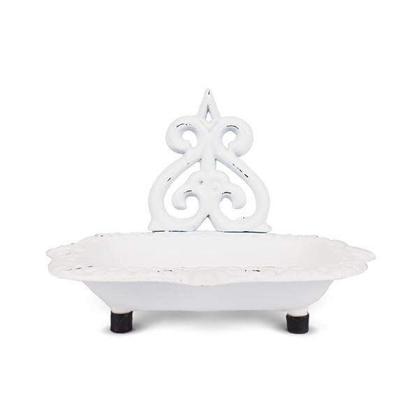 Victorian Cast Iron Soap Dish-White