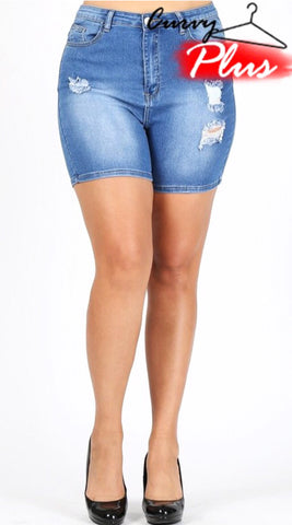 Curvy Plus Distressed Denim Bermuda Shorts
