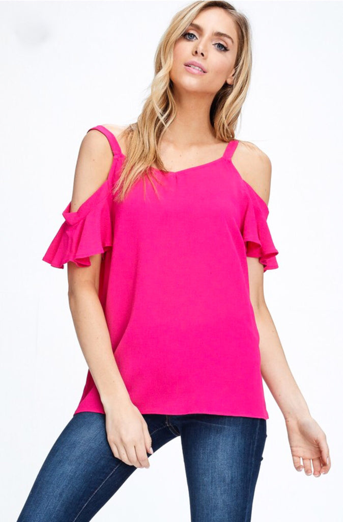 Elle Cold Shoulder Koshibo Blouse; Fuschia