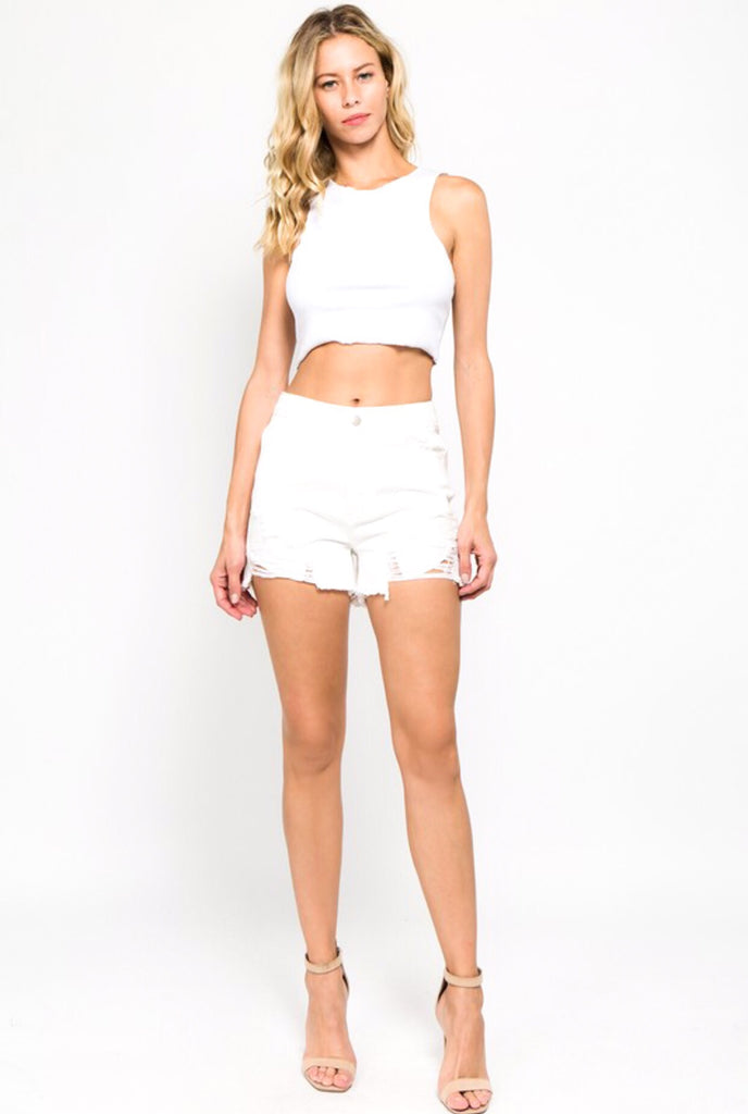 Distressed High Rise Denim Shorts; White