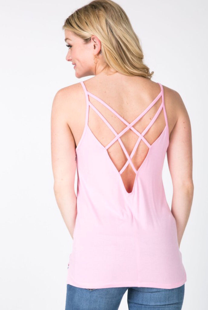 Ainsley Open Back Tank; Cotton Candy