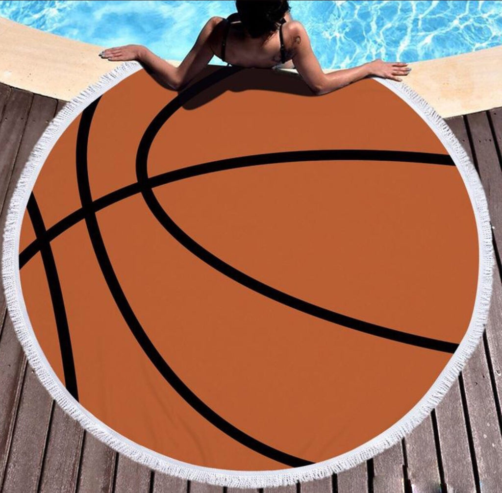 Round Beach Towel; Basketball