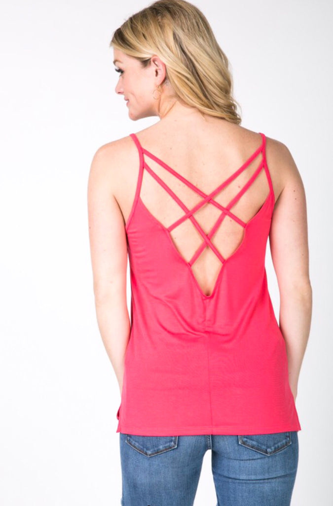 Ainsley Open Back Tank; Coral