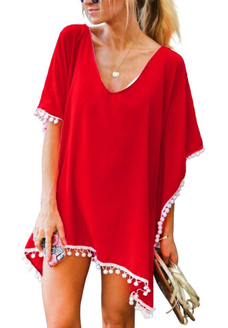 Pom Pom Swimsuit Cover-Up; Remarkable Red