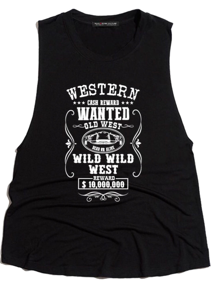 Wanted Cutoff Tank; Black