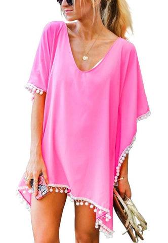 Pom Pom Swimsuit Cover-Up; Princess Pink