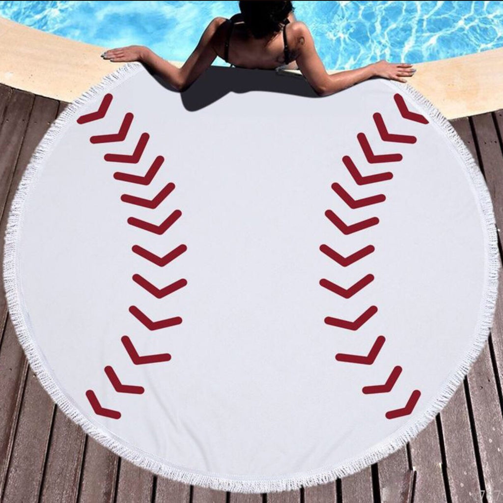 Round Beach Towel; Baseball