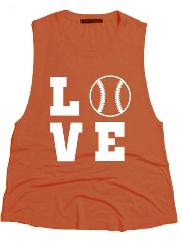 LOVE Baseball Cutoff Tank; Burnt Orange