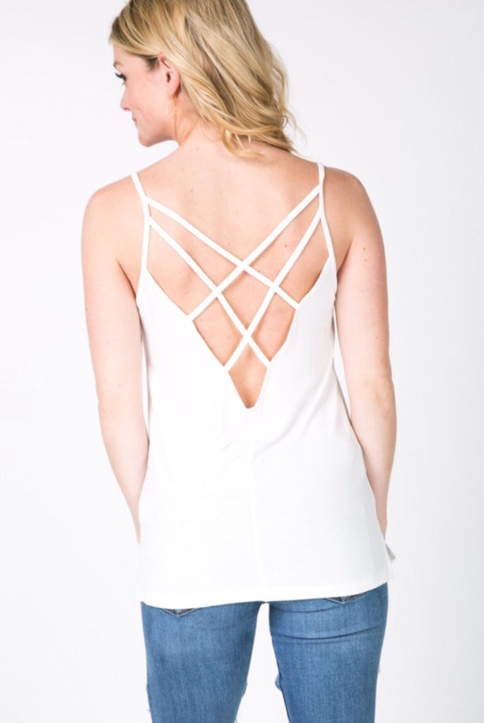 Ainsley Open Back Tank; Pearl White
