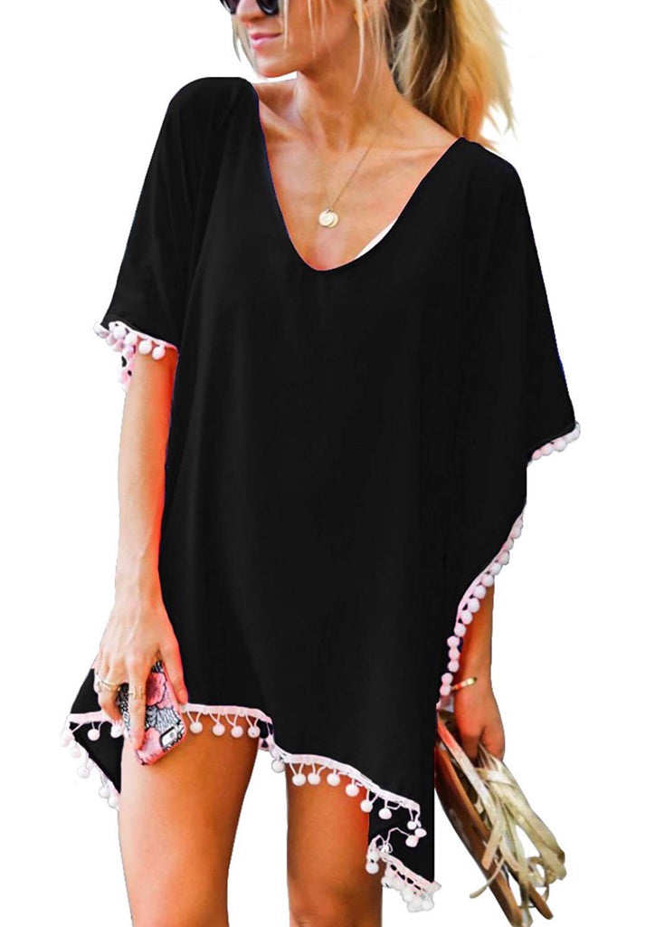 Pom Pom Swimsuit Cover-Up; Black Beauty
