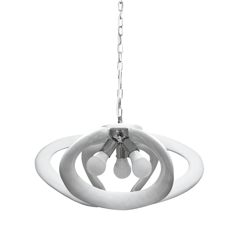 Pendant 3 Light White Open Shade
