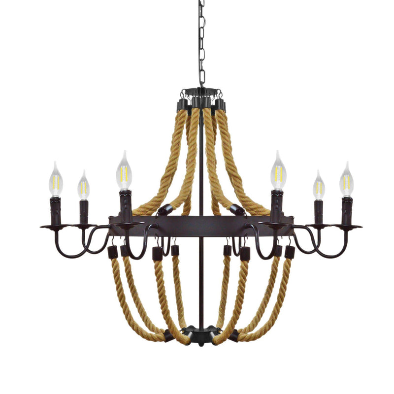 Pendant Light Industrial Chandelier Rope 6 Bulb