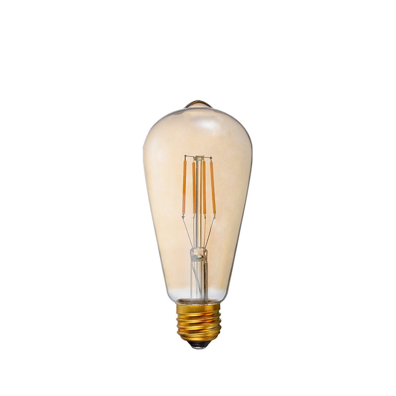 LED Filament Bulb - ST21 - 60 Watt Equivalent - Amber - E26 - Dimmable - 10 Pack - Green Light Depot