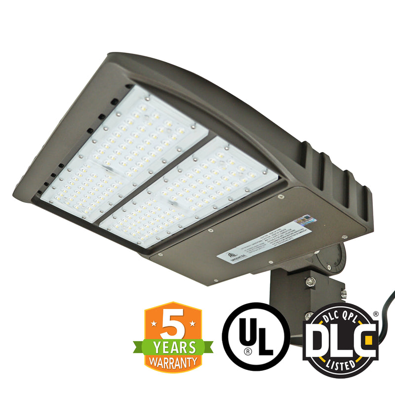 LED Street Light - 90W - Outdoor LED Luminaire Slip Fitter Mount - DLC Listed - 5 Year Warranty - Brown - Green Light Depot