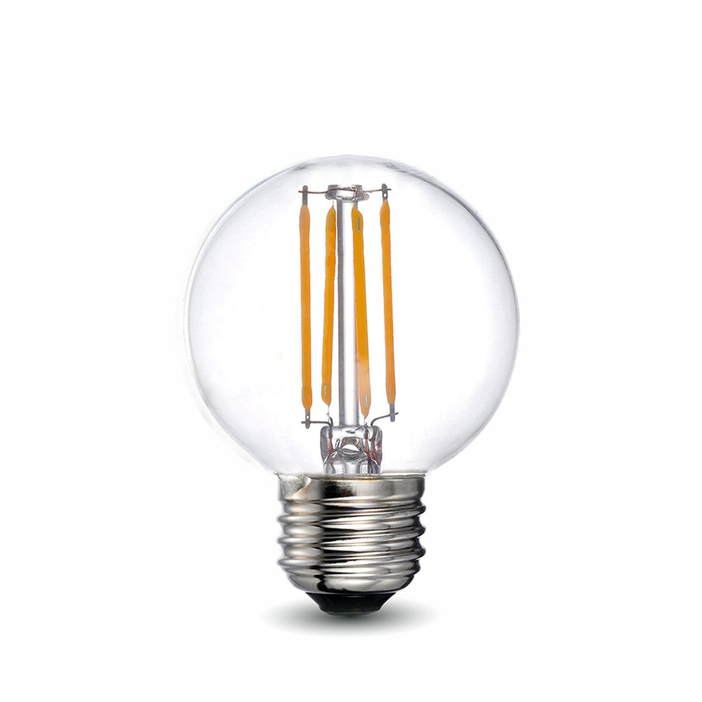 LED Filament Bulb - G16.5 - 60 Watt Equivalent - E26 - Dimmable - 10 Pack - Green Light Depot