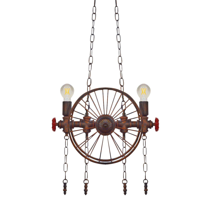Pendant Light Industrial Rustic 2 Wheel 2 Light