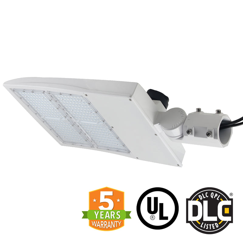 LED Street Light - 240W - Outdoor LED Slip Fitter Mount - White - 5 Year Warranty - With Shorting Cap - Green Light Depot