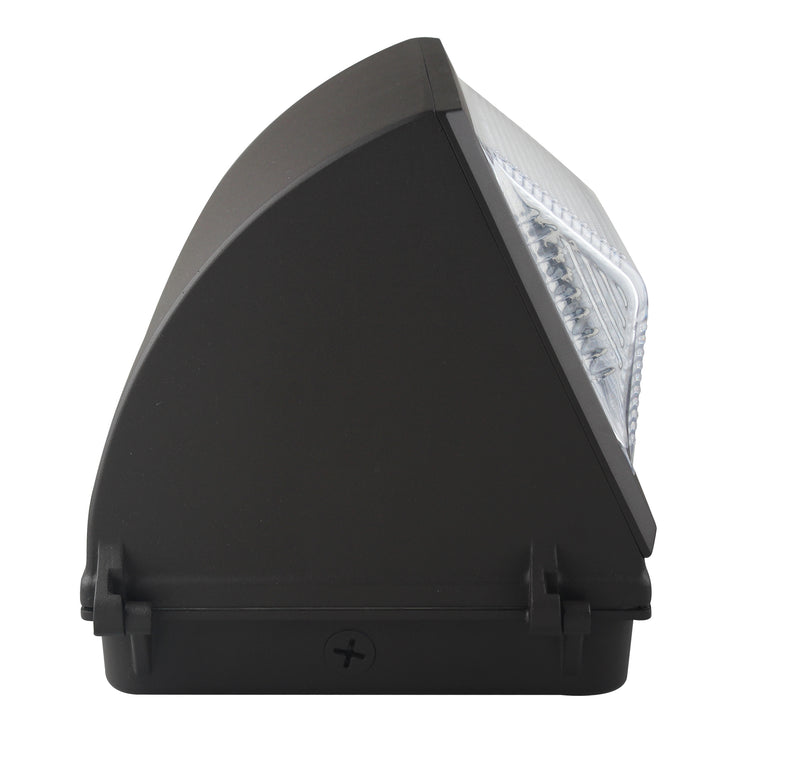 55W LED Wall Pack Light - Semi Cutoff -  Glass Lens - Emergency Back up - Forward Throw - DLC Listed
